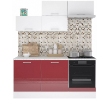 Кухня Сити Люкс, цвет - красный, стиль - современный